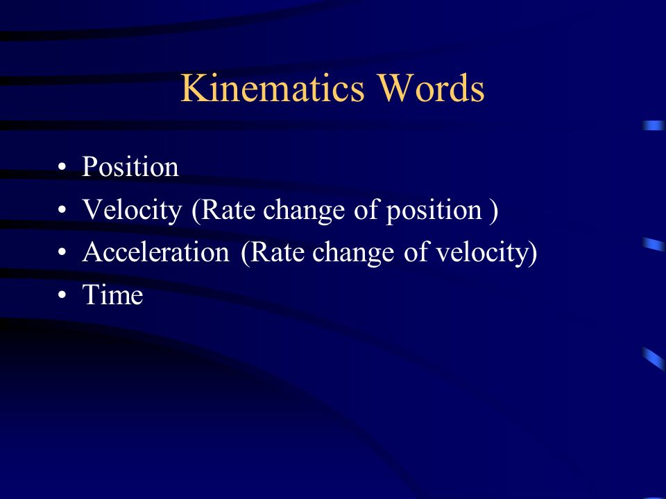 Kinematics Words Position Velocity (Rate change of position ) Acceleration (Rate change of velocity) Time