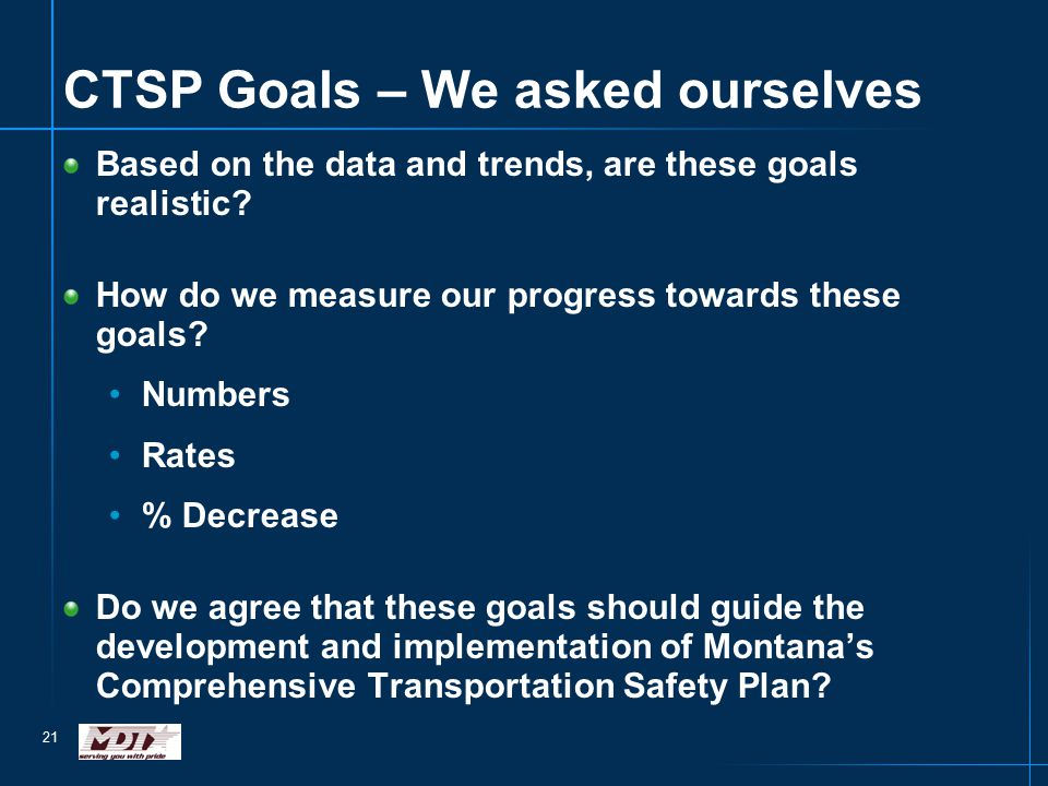 21 CTSP Goals – We asked ourselves Based on the data and trends, are these goals realistic.