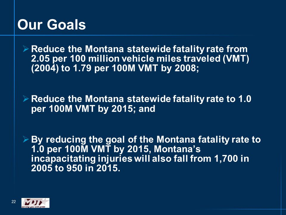 22 Our Goals  Reduce the Montana statewide fatality rate from 2.05 per 100 million vehicle miles traveled (VMT) (2004) to 1.79 per 100M VMT by 2008;  Reduce the Montana statewide fatality rate to 1.0 per 100M VMT by 2015; and  By reducing the goal of the Montana fatality rate to 1.0 per 100M VMT by 2015, Montana's incapacitating injuries will also fall from 1,700 in 2005 to 950 in 2015.
