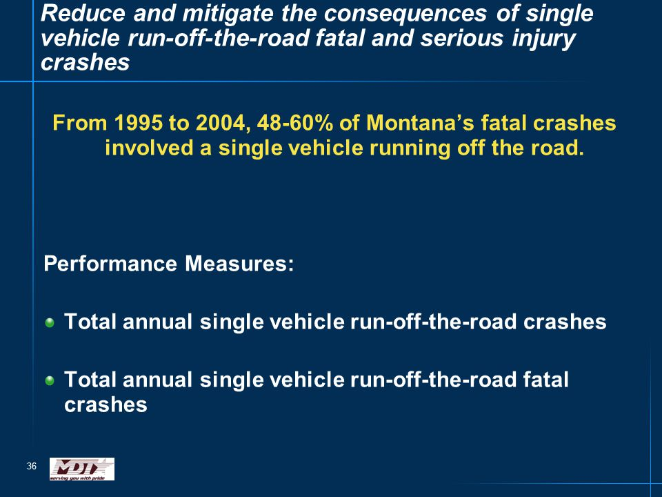 36 Reduce and mitigate the consequences of single vehicle run-off-the-road fatal and serious injury crashes From 1995 to 2004, 48-60% of Montana's fatal crashes involved a single vehicle running off the road.