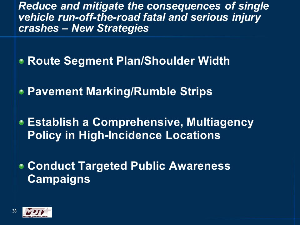 38 Reduce and mitigate the consequences of single vehicle run-off-the-road fatal and serious injury crashes – New Strategies Route Segment Plan/Should