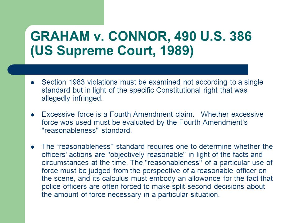 GRAHAM v. CONNOR, 490 U.S.