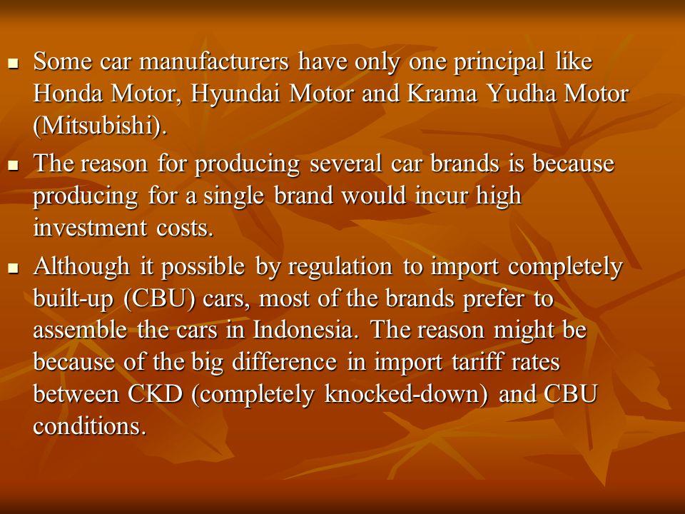 Some car manufacturers have only one principal like Honda Motor, Hyundai Motor and Krama Yudha Motor (Mitsubishi).
