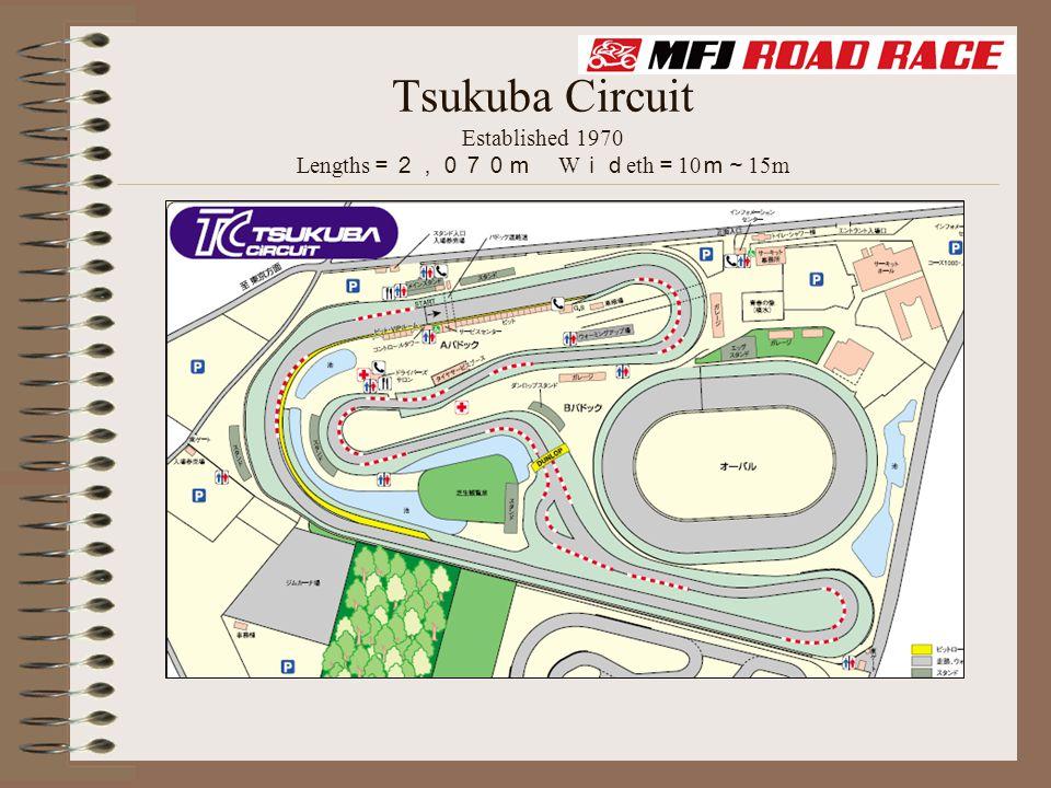 Tsukuba Circuit Established 1970 Lengths =2,070m W id eth = 10 m~ 15m
