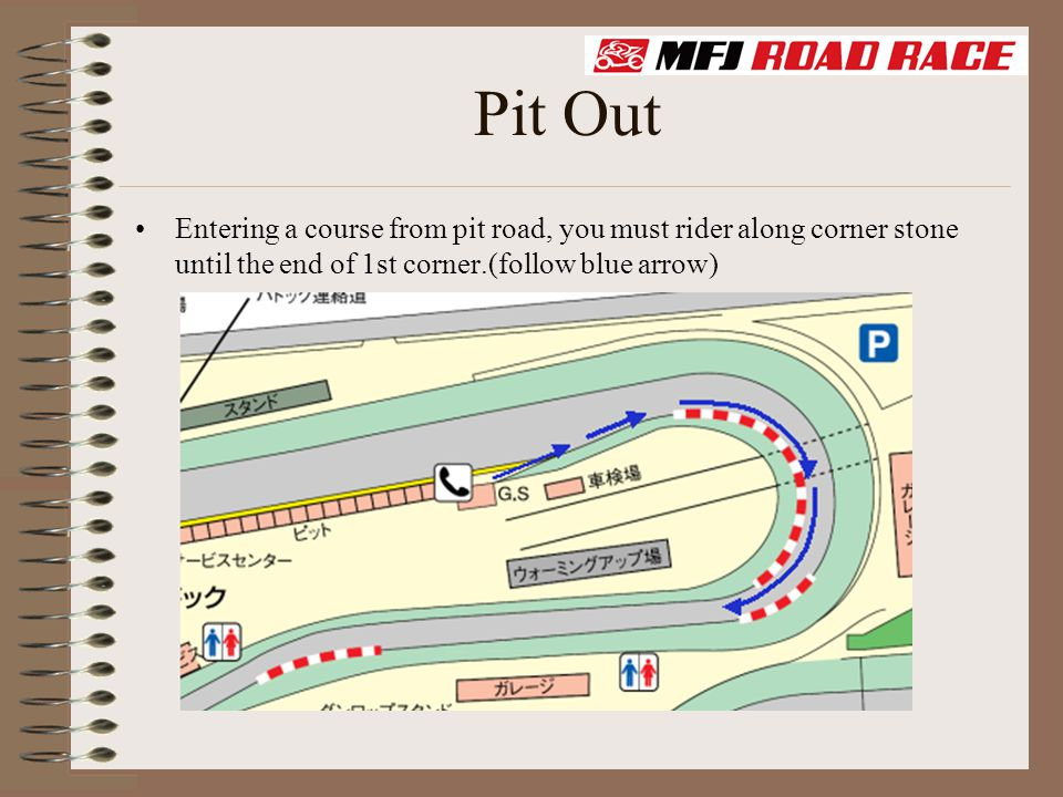 Pit Out Entering a course from pit road, you must rider along corner stone until the end of 1st corner.(follow blue arrow)