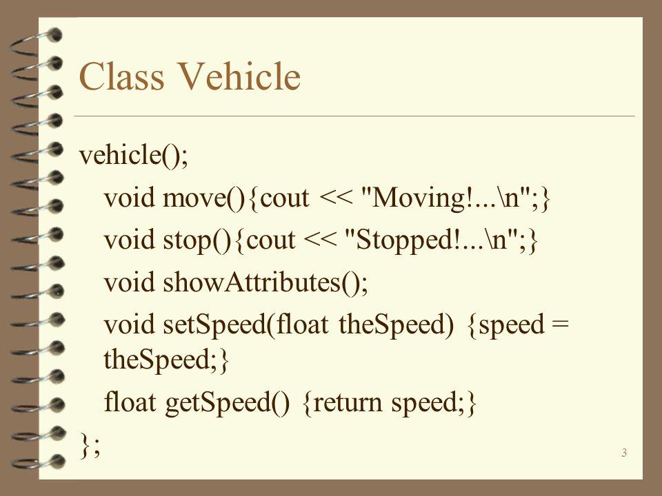 14 Class Vehicle class FourWheeledEPV:public EnginePoweredVehicle { };
