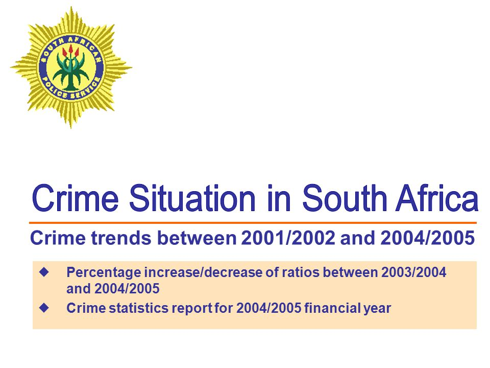 Illegal possession decreased by 8.3% between 2003/2004 and 2004/2005 Crime heavily dependent on police action for detection