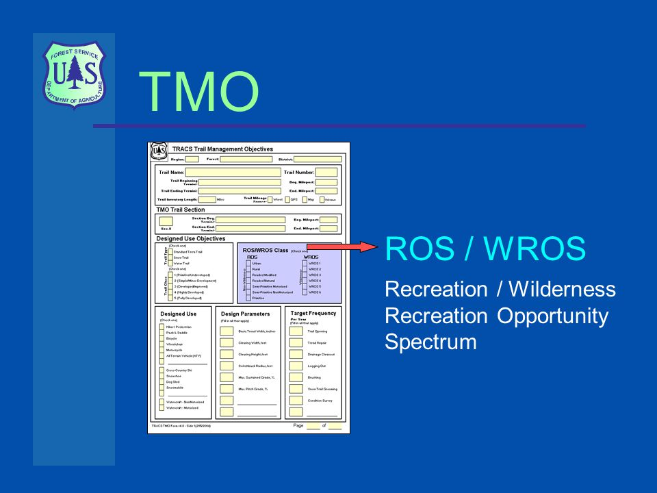 TMO ROS / WROS Recreation / Wilderness Recreation Opportunity Spectrum