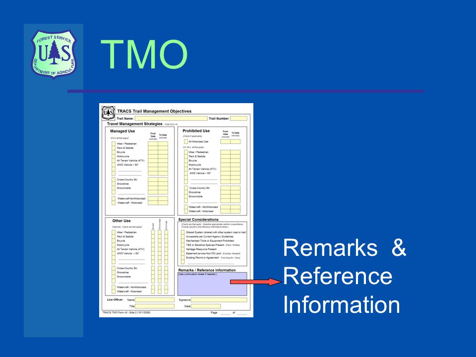 TMO Remarks & Reference Information