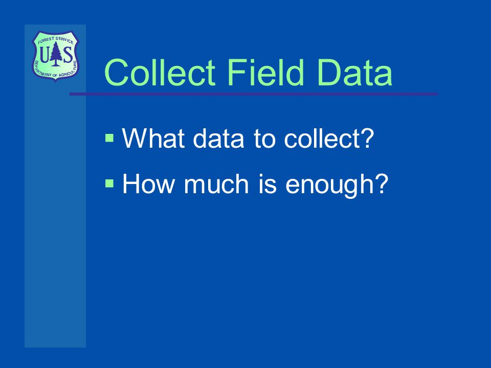 Collect Field Data  What data to collect  How much is enough