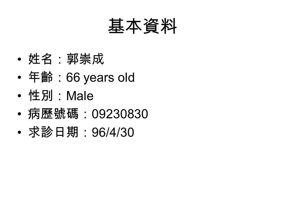 基本資料 姓名:郭崇成 年齡: 66 years old 性別: Male 病歷號碼: 09230830 求診日期: 96/4/30