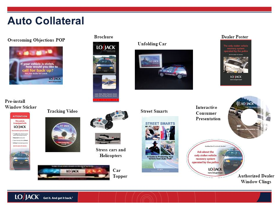 Authorized Dealer Window Clings Brochure Interactive Consumer Presentation Car Topper Overcoming Objections POP Pre-install Window Sticker Unfolding Car Tracking Video Auto Collateral Dealer Poster Street Smarts Stress cars and Helicopters