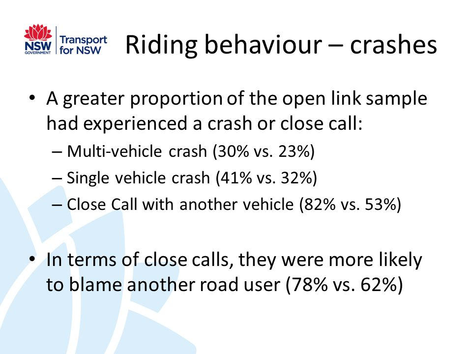 Riding behaviour – crashes A greater proportion of the open link sample had experienced a crash or close call: – Multi-vehicle crash (30% vs.