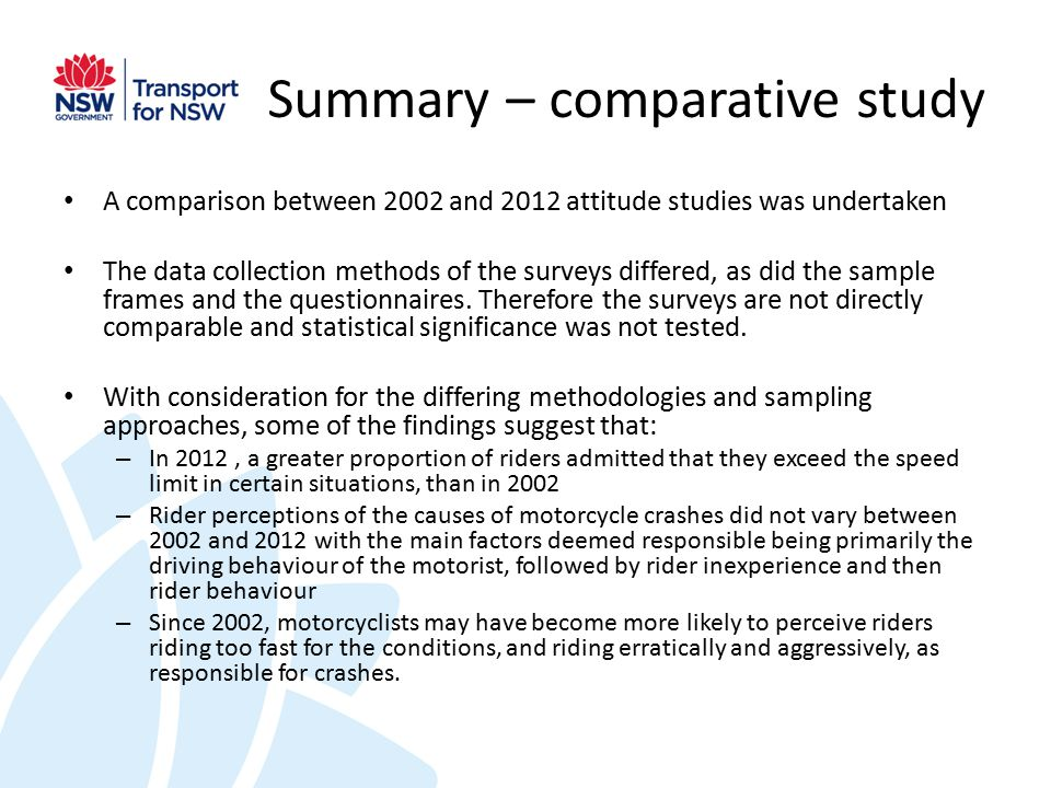 Summary – comparative study A comparison between 2002 and 2012 attitude studies was undertaken The data collection methods of the surveys differed, as