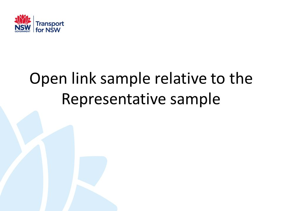 Open link sample relative to the Representative sample