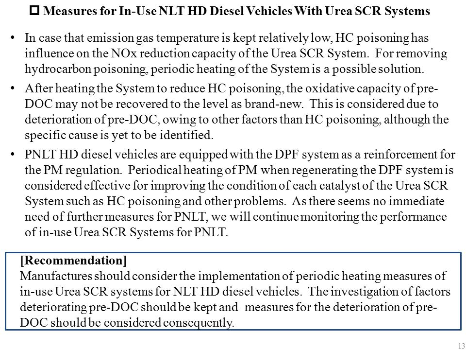  Measures for In-Use NLT HD Diesel Vehicles With Urea SCR Systems In case that emission gas temperature is kept relatively low, HC poisoning has infl