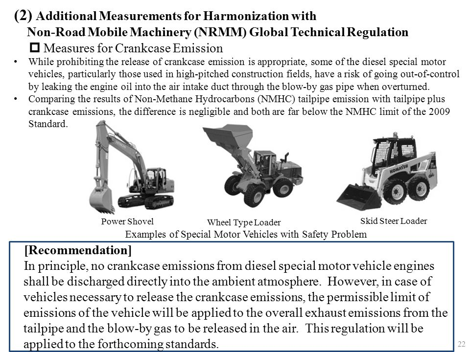 [Recommendation] In principle, no crankcase emissions from diesel special motor vehicle engines shall be discharged directly into the ambient atmosphe