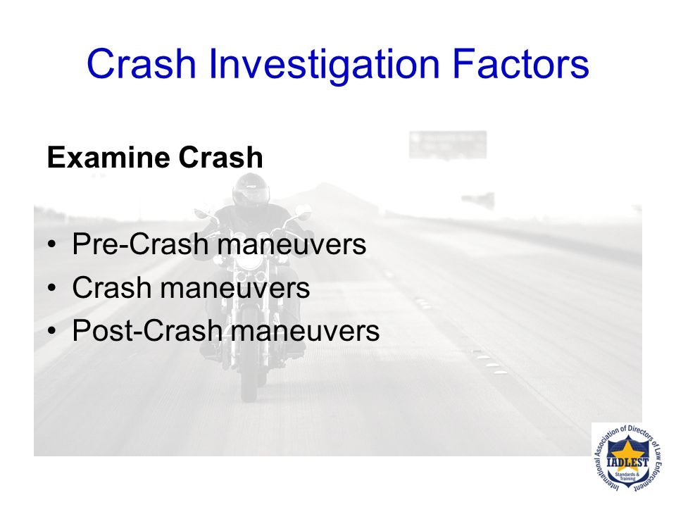 What are some motorcycle crash investigation procedures to consider for crash investigators?