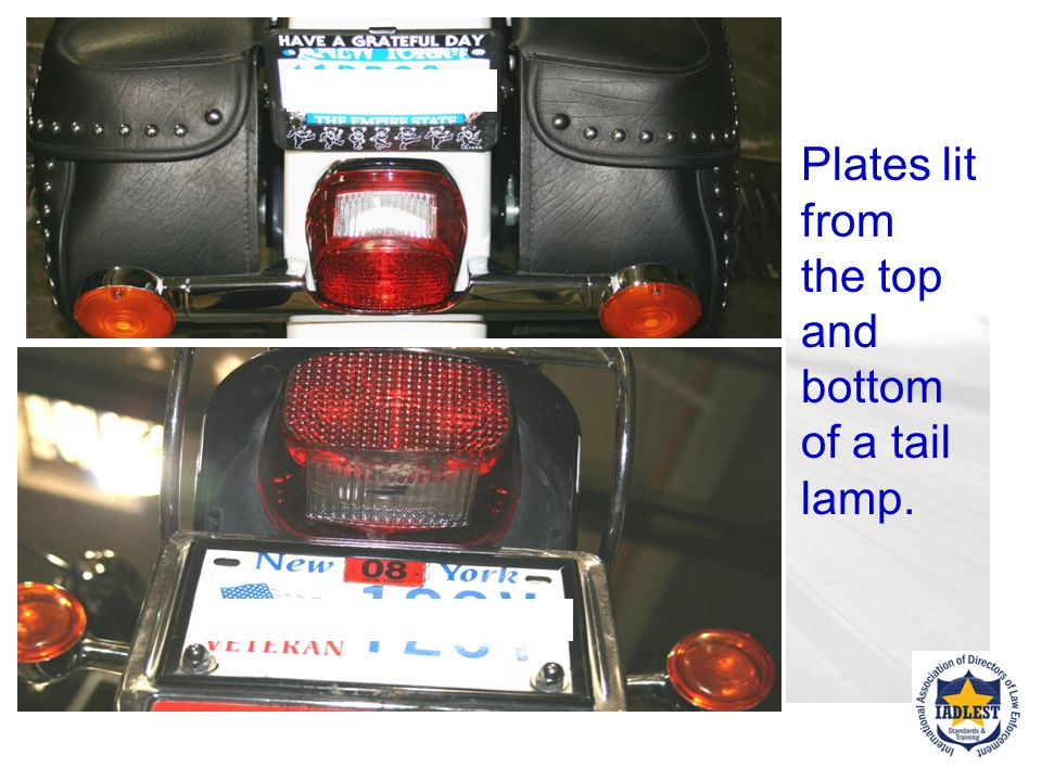 Check registration plate as it must be secure.Mounted horizontally or Is vertical mount permitted.