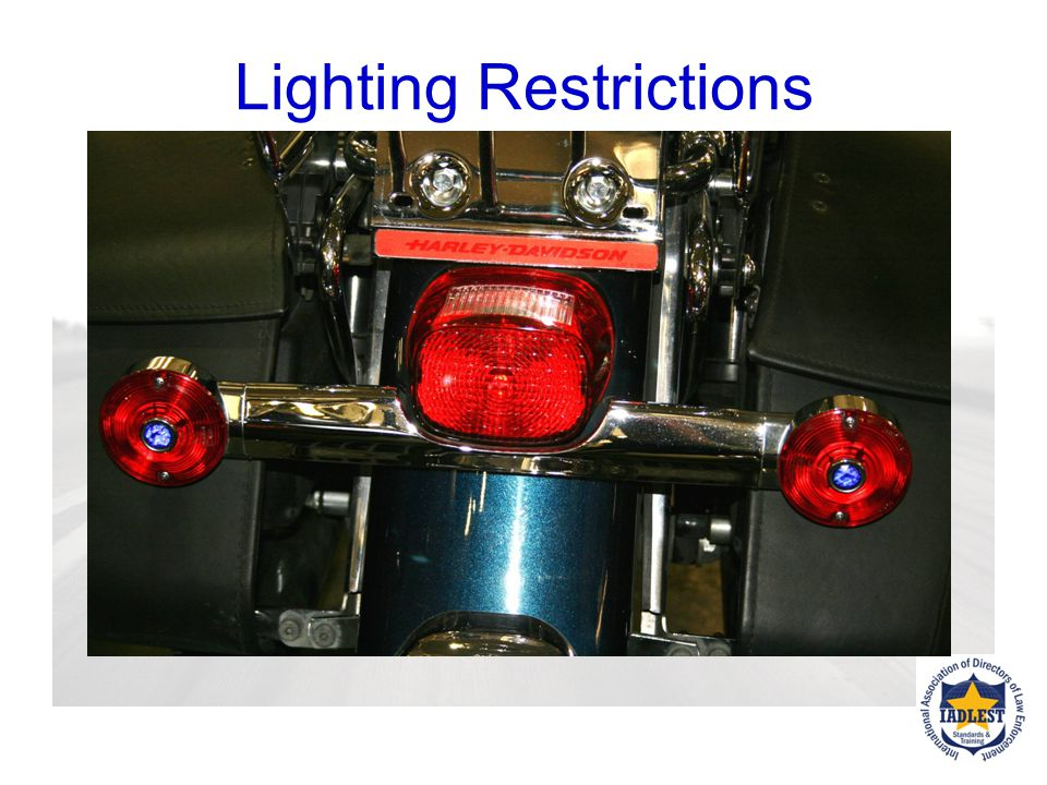 HEADLAMP / FRONT LIGHT Motorcycle modulating headlamps are permitted Motorcycle headlamp modulation systems are allowed under FMVSS 108. No ticket for