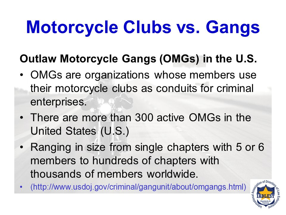 Motorcycle Clubs vs. Gangs Motorcycle Clubs A motorcycle club (MC) is a group of people that ride motorcycles in organized activities. They may wear d