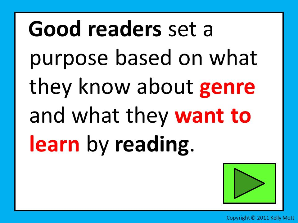 Good readers set a purpose based on what they know about genre and what they want to learn by reading.