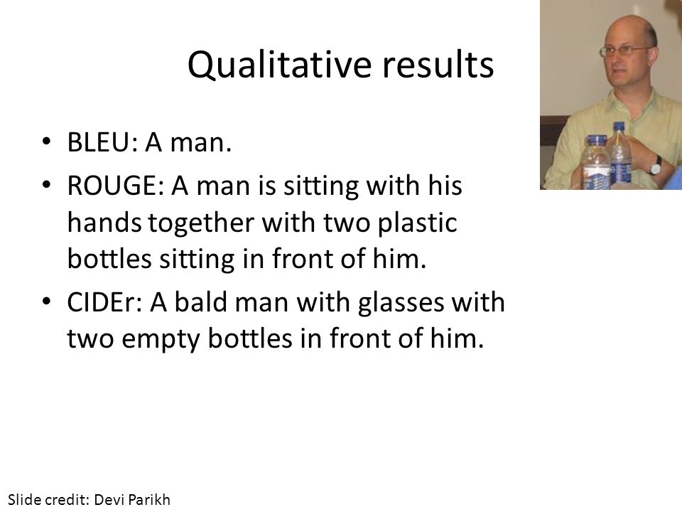 Qualitative results BLEU: A man.