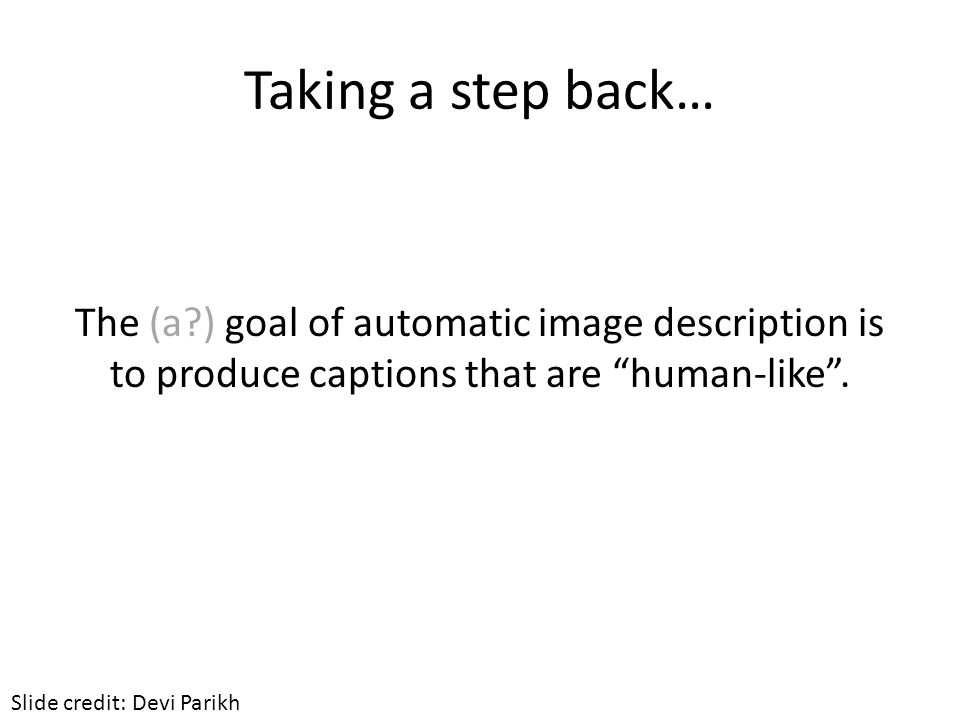Taking a step back… The (a ) goal of automatic image description is to produce captions that are human-like .