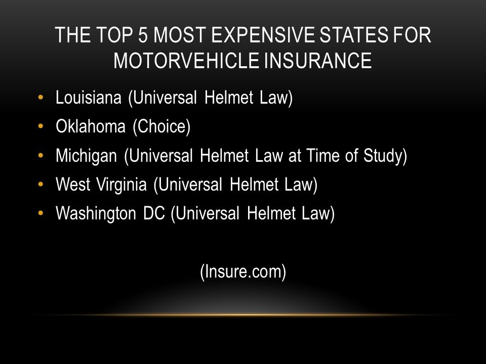 THE TOP 5 MOST EXPENSIVE STATES FOR MOTORVEHICLE INSURANCE Louisiana (Universal Helmet Law) Oklahoma (Choice) Michigan (Universal Helmet Law at Time of Study) West Virginia (Universal Helmet Law) Washington DC (Universal Helmet Law) (Insure.com)
