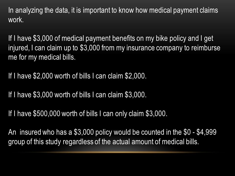 In analyzing the data, it is important to know how medical payment claims work. If I have $3,000 of medical payment benefits on my bike policy and I g