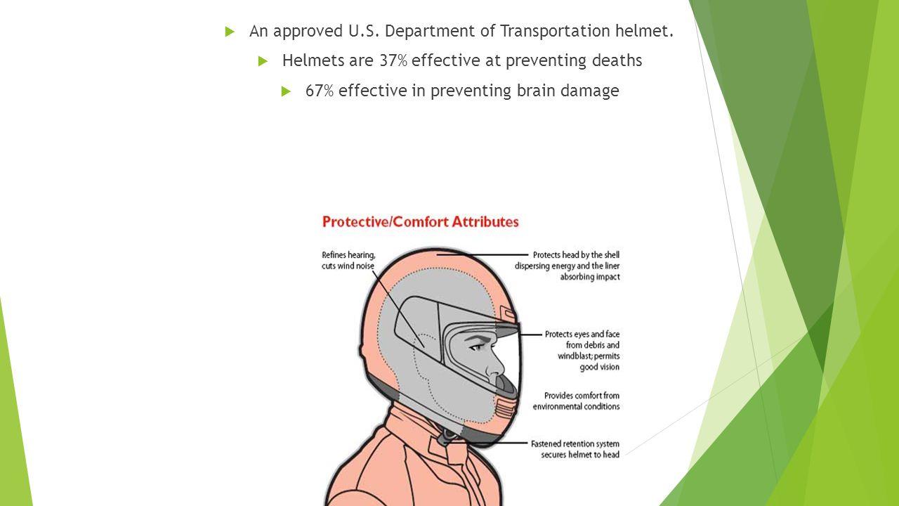  An approved U.S.Department of Transportation helmet.