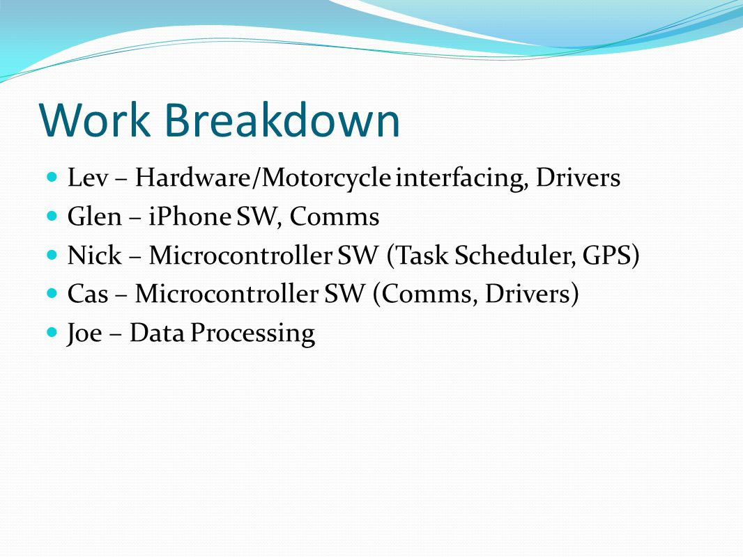 Work Breakdown Lev – Hardware/Motorcycle interfacing, Drivers Glen – iPhone SW, Comms Nick – Microcontroller SW (Task Scheduler, GPS) Cas – Microcontroller SW (Comms, Drivers) Joe – Data Processing