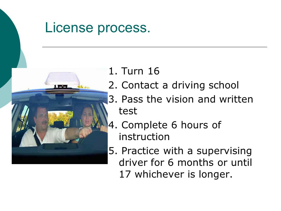 License process. 1. Turn 16 2. Contact a driving school 3.