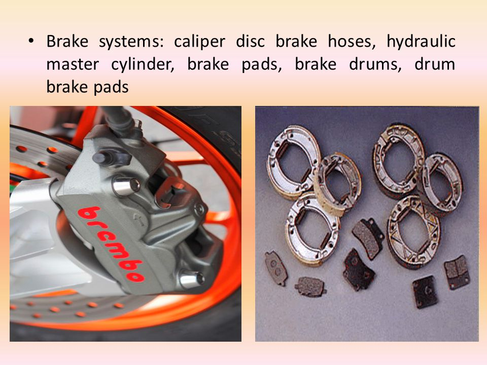 Brake systems: caliper disc brake hoses, hydraulic master cylinder, brake pads, brake drums, drum brake pads
