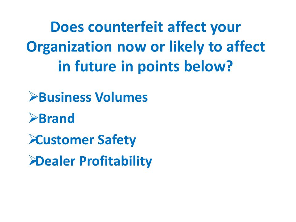 Does counterfeit affect your Organization now or likely to affect in future in points below.