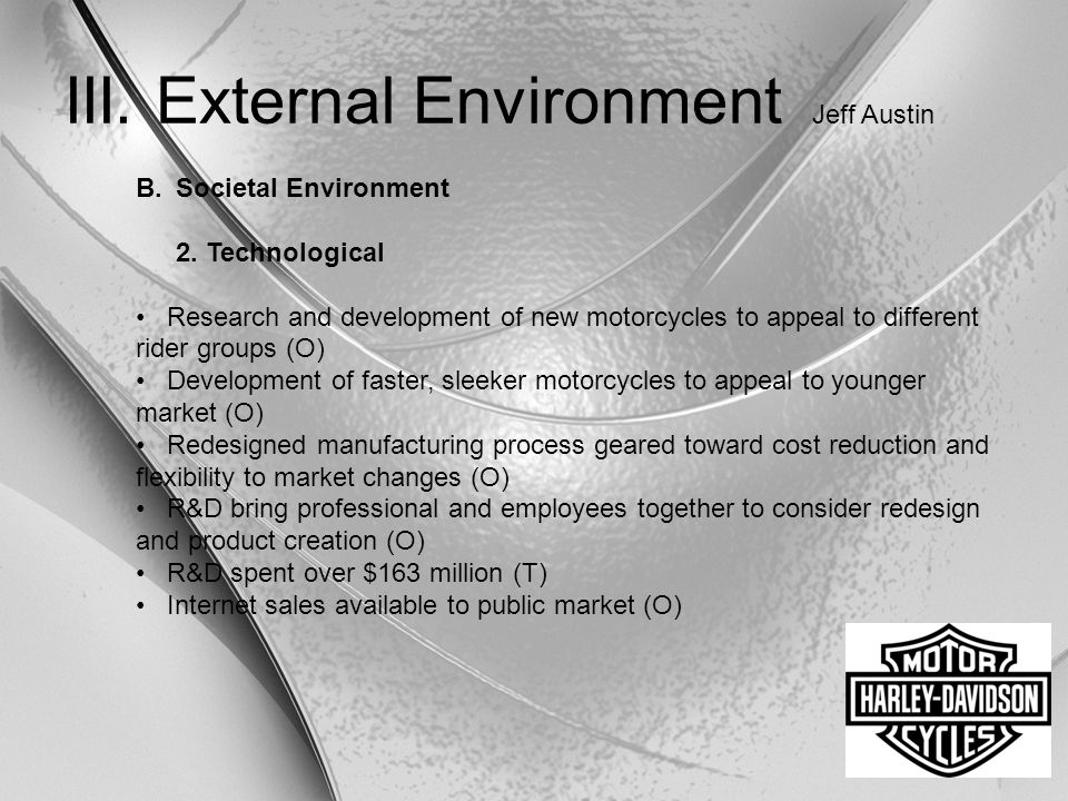 III. External Environment Jeff Austin B.Societal Environment 2. Technological Research and development of new motorcycles to appeal to different rider