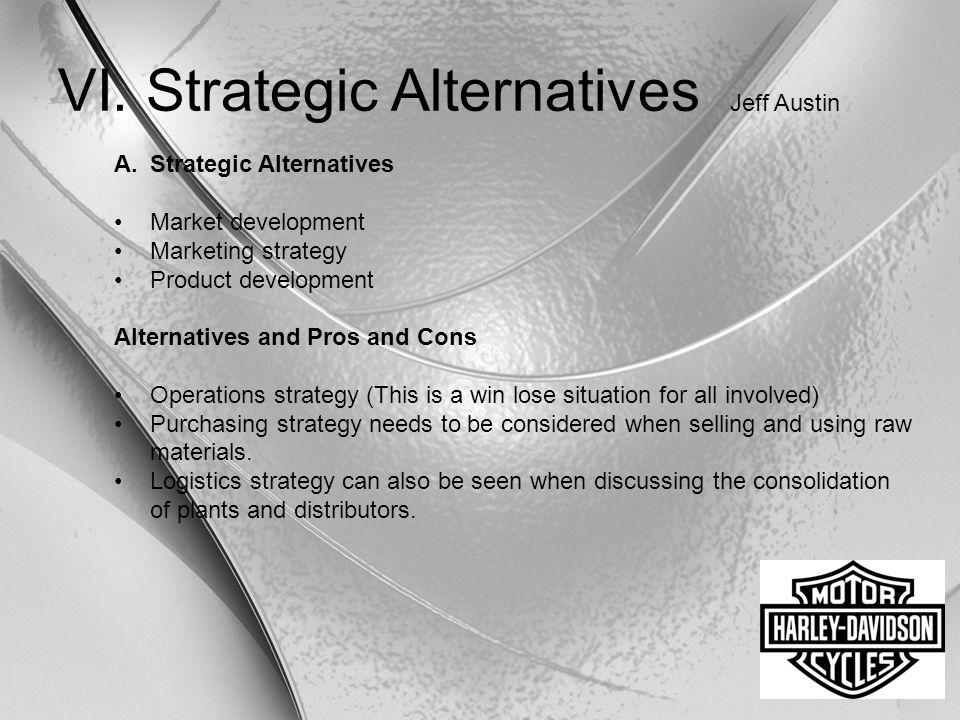 VI. Strategic Alternatives Jeff Austin A.Strategic Alternatives Market development Marketing strategy Product development Alternatives and Pros and Co