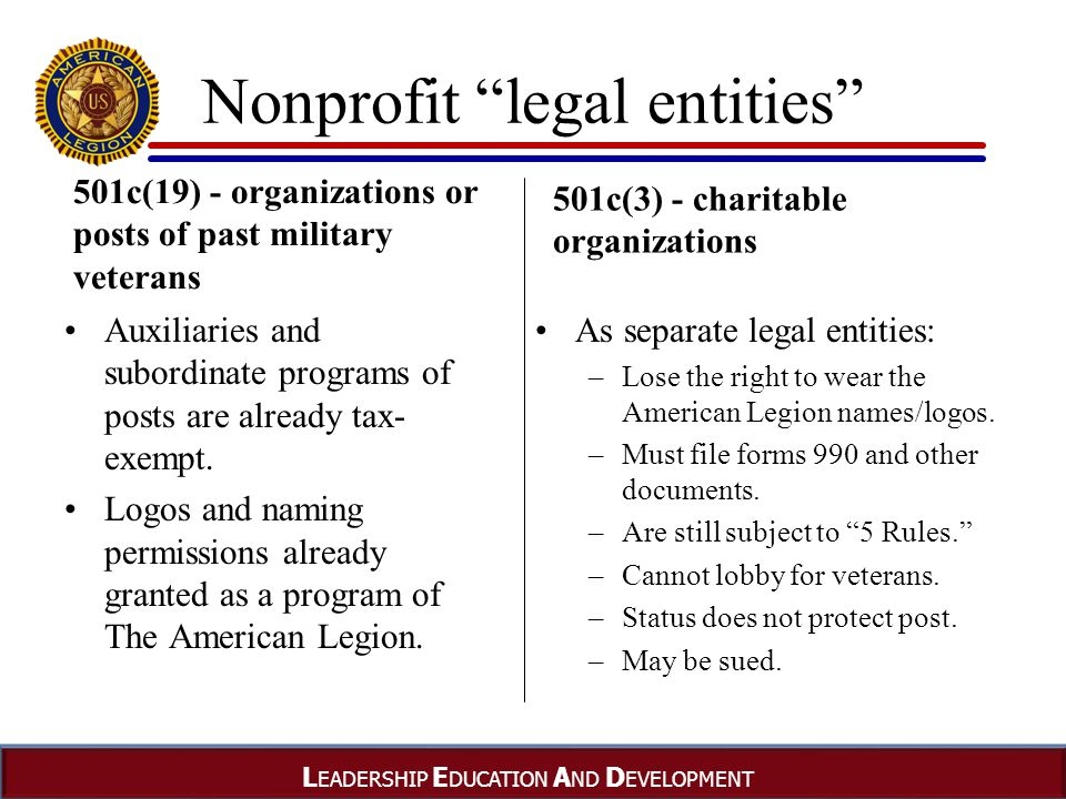 L EADERSHIP E DUCATION A ND D EVELOPMENT Nonprofit legal entities 501c(19) - organizations or posts of past military veterans Auxiliaries and subordinate programs of posts are already tax- exempt.