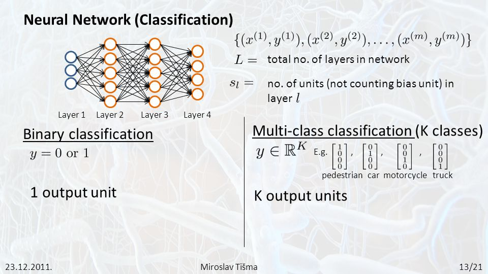 Neural Network (Classification) Binary classification 1 output unit Layer 1Layer 2Layer 3Layer 4 Multi-class classification (K classes) K output units