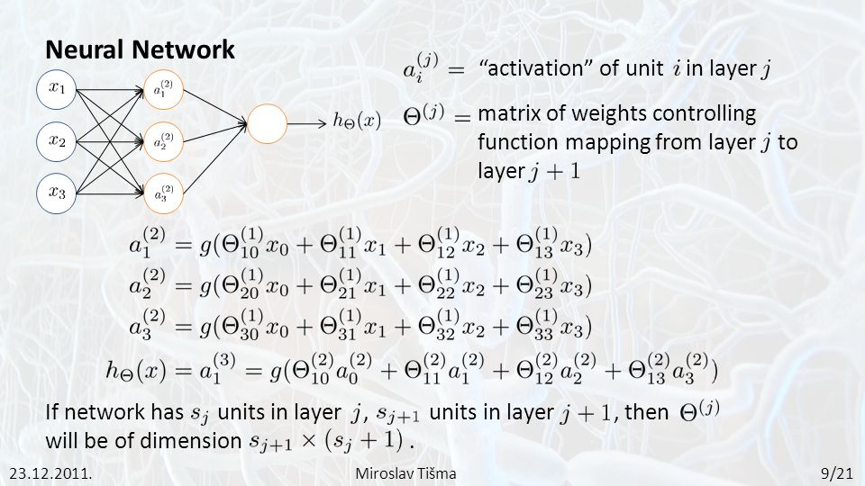 Neural Network activation of unit in layer matrix of weights controlling function mapping from layer to layer If network has units in layer, units in layer, then will be of dimension.