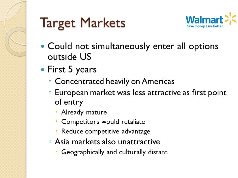 Target Markets Could not simultaneously enter all options outside US First 5 years ◦ Concentrated heavily on Americas ◦ European market was less attractive as first point of entry  Already mature  Competitors would retaliate  Reduce competitive advantage ◦ Asia markets also unattractive  Geographically and culturally distant
