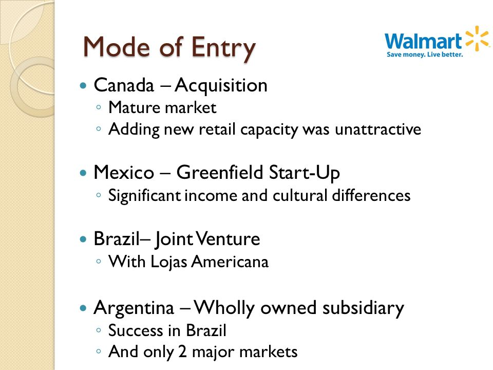 Mode of Entry Canada – Acquisition ◦ Mature market ◦ Adding new retail capacity was unattractive Mexico – Greenfield Start-Up ◦ Significant income and cultural differences Brazil– Joint Venture ◦ With Lojas Americana Argentina – Wholly owned subsidiary ◦ Success in Brazil ◦ And only 2 major markets