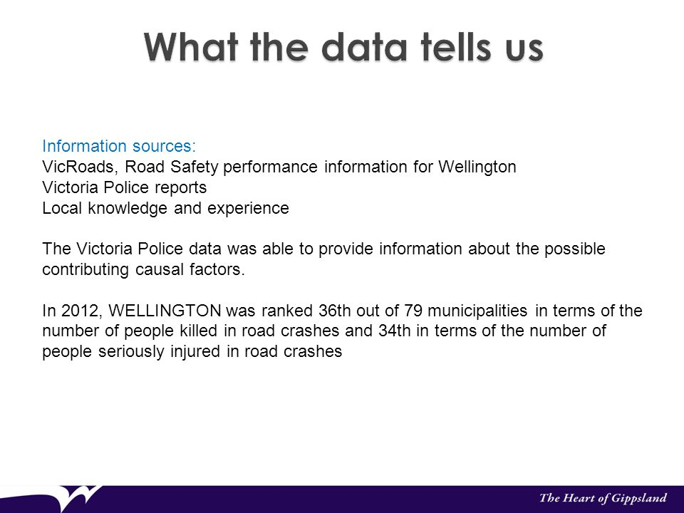 Information sources: VicRoads, Road Safety performance information for Wellington Victoria Police reports Local knowledge and experience The Victoria Police data was able to provide information about the possible contributing causal factors.