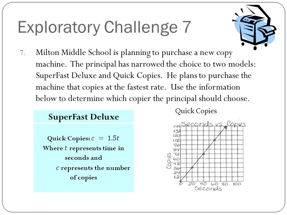 Exploratory Challenge 7 7. Milton Middle School is planning to purchase a new copy machine. The principal has narrowed the choice to two models: Super