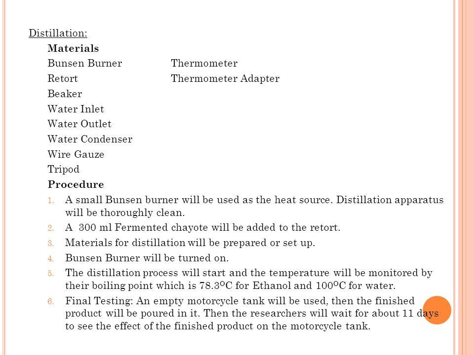 Distillation: Materials Bunsen BurnerThermometer RetortThermometer Adapter Beaker Water Inlet Water Outlet Water Condenser Wire Gauze Tripod Procedure