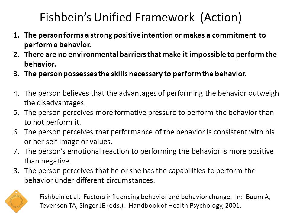 Fishbein's Unified Framework (Action) Fishbein et al.