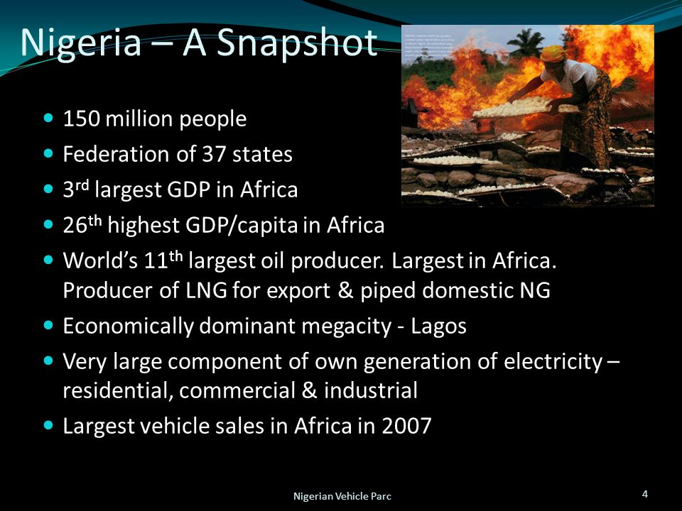 Nigeria – A Snapshot 150 million people Federation of 37 states 3 rd largest GDP in Africa 26 th highest GDP/capita in Africa World's 11 th largest oi