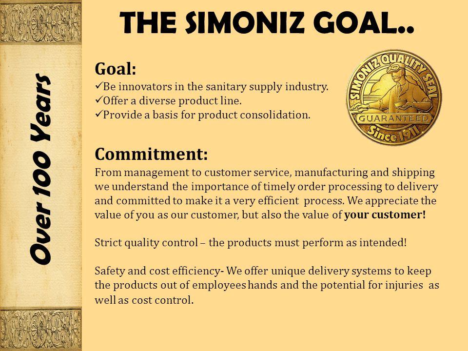 THE SIMONIZ GOAL..Over 100 Years Goal: Be innovators in the sanitary supply industry.