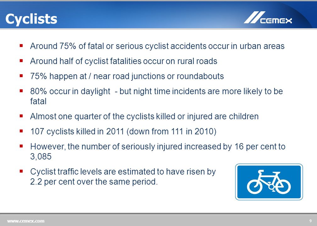 9 www.cemex.com Cyclists  Around 75% of fatal or serious cyclist accidents occur in urban areas  Around half of cyclist fatalities occur on rural roads  75% happen at / near road junctions or roundabouts  80% occur in daylight - but night time incidents are more likely to be fatal  Almost one quarter of the cyclists killed or injured are children  107 cyclists killed in 2011 (down from 111 in 2010)  However, the number of seriously injured increased by 16 per cent to 3,085  Cyclist traffic levels are estimated to have risen by 2.2 per cent over the same period.
