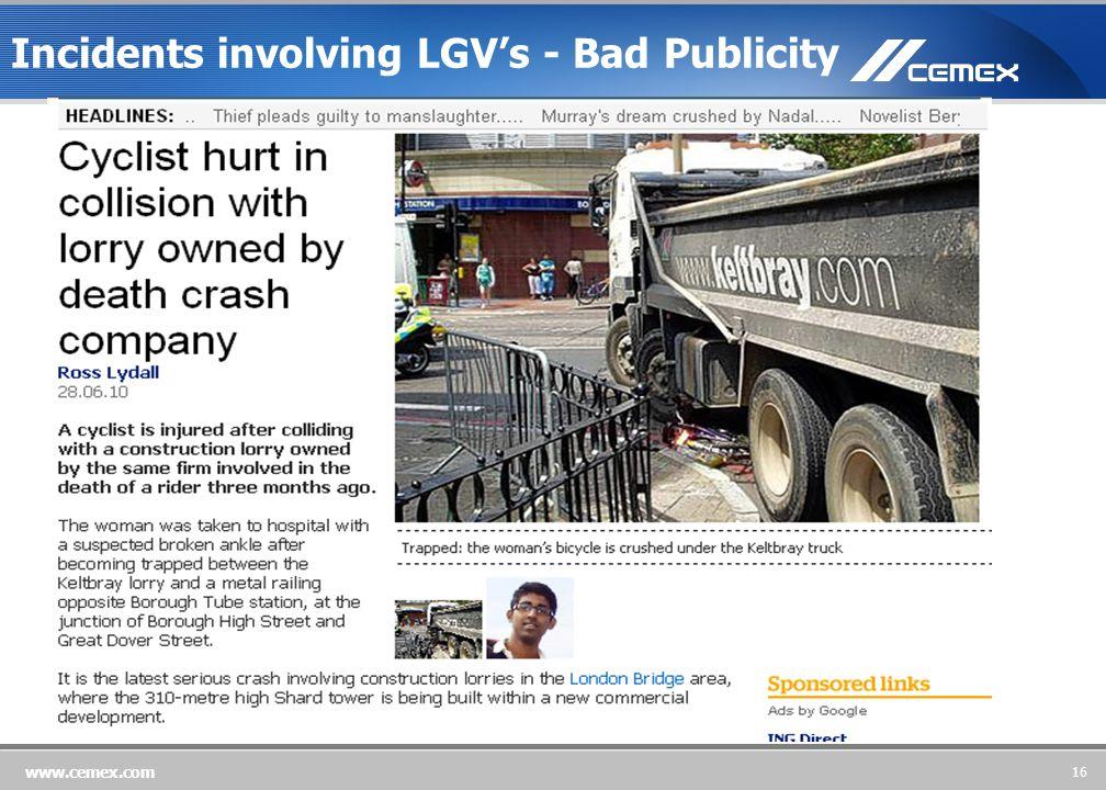16 www.cemex.com Incidents involving LGV's - Bad Publicity